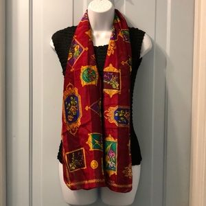 """Ellen Tracy floral scarf red and gold 15x58"""""""
